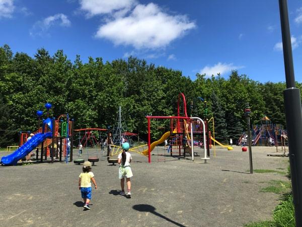 百合が原公園の遊具広場で遊ぶ子ども